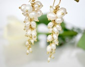 Freshwater Pearl,silk white and gold beautiful,cluster,dangle wedding earrings