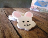 White polymer clay Bunny Face Buttons, set of 3