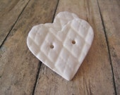 Cream polymer clay Pillow Heart Buttons, set of 3 large