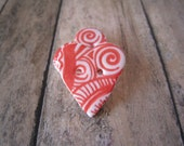 Cream polymer clay Small Heart Buttons, set of 3 red swirly pattern