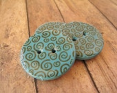 Turquoise polymer clay Large Circle Buttons, set of 3 with brown mini spirals