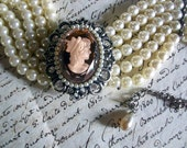 Gorgeous Cameo Choker Faceted Rose Glass and Pearls