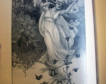 SALE The Children's Fourth Reader 1800s Beautiful Illustrations