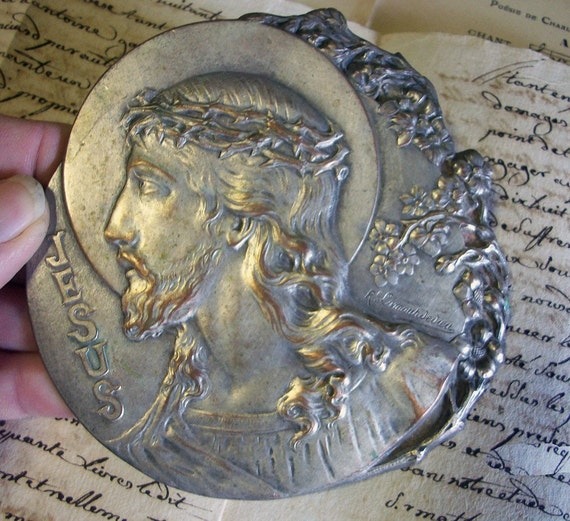 Vintage FRENCH Religous Silver Jesus SIGNED Highly Detailed
