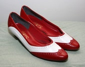 vintage leather wingtip flats - PEPPERMINT RED AND WHITE