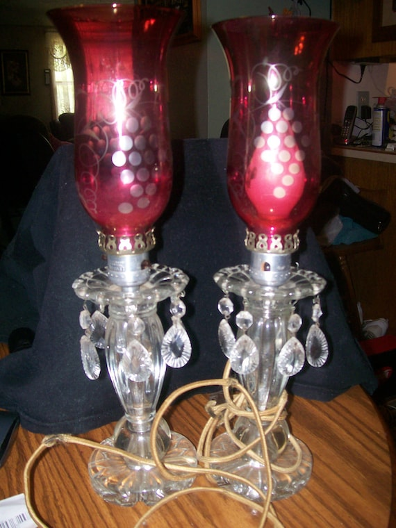 Antique Vintage Red Ruby Hurricane Lamp Crystal Prisms