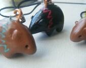 Tiny Spirit Bear - Polymer totem phone charm, keychain bead
