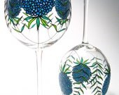 Personalized Wine Glasses, Blue Hydrangeas, Hydrangea, Something Blue For the Bride,  Set of 4