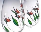 Hand Painted Wine Glasses, Beach Wedding Glasses, Birds Of Paradise, Set of 2
