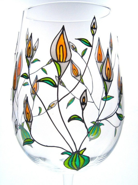 Hand Painted Wine Glass, Calla Lilies by Decouverre on Etsy