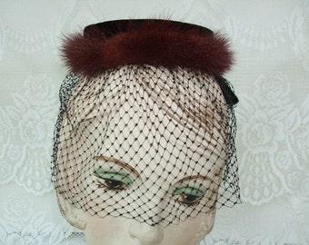 Vintage 1950s Hat Fascinator Whimsy Black Velvet Bow Brown Mink Veiling