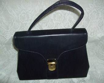 Vintage 1950s Purse Navy Blue Leather Handbag