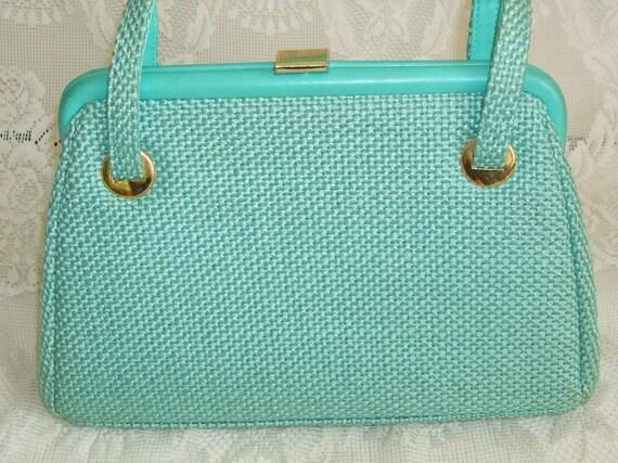Vintage 1950s Handbag Purse Mint Green Light Turqouise Wool Woven Fabric Two Handle jR Florida USA Kelly Bag Shape