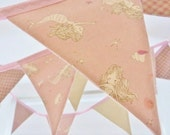 Mermaid bunting banner Soft pink linen Perfect for little girls & baby showers Nearly 9 ft long (excl. ties) with 12 flags READY TO SHIP