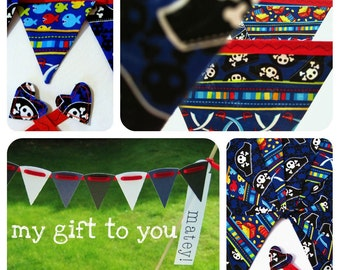 40% off SALE ~ Pirate Bunting Set 1 x Large 12 flag bunting 1 x 16 flag mini fabric bunting & FREE cake bunting ~ Ready To Ship
