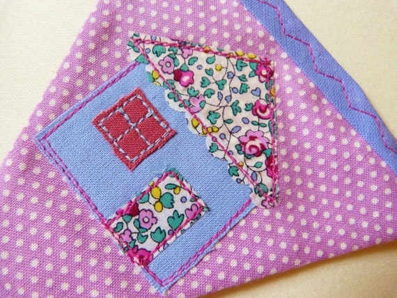 40% off SALE ~ 'Sweet Home' bunting with Liberty of London appliqué house & letters READY to SHIP