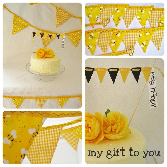 "Bumble bee ""Party Time"" Kit 1 x Large 12 flag bunting 1 x  16 flag mini fabric bunting & FREE cake bunting READY to SHIP"