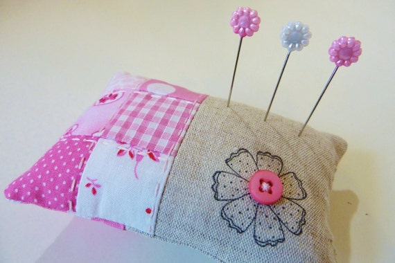 40% off SALE ~ Pin cushion in linen with pink patchwork and a stamped flower  READY to SHIP