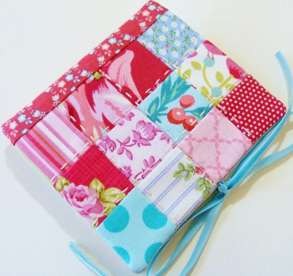 Needle book / needle case in red, pink and aqua patchwork with a bird theme, lined with linen Perfect mother's day, Easter or hostess gift