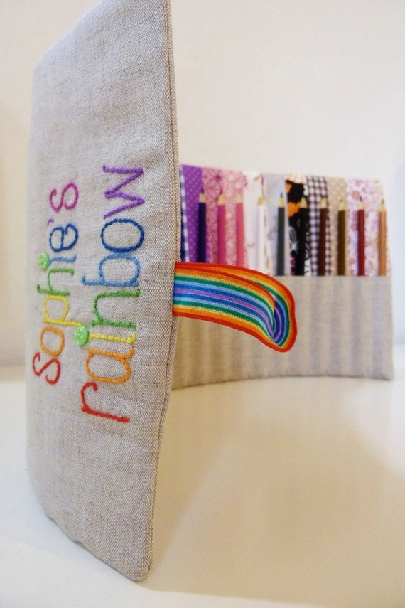 Rainbow pencil roll with 24 Crayola pencils Personalised with embroidery Perfect birthday gift  MADE TO ORDER