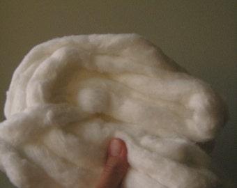 7.5 oz Spun Cotton fiber Supply Roving  100 Percent Cotton White for spun cotton ornaments or mushrooms