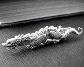 Mythological Fantasy Dragon Alligator hair clips in ox antique sterling silver plated brass