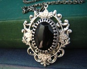 vintage West Germany jet black glass jewel Sterling silver plated brass necklace,N500