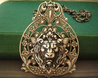 Nemean Lion ---antique sterling silver plated brass filigree lion head finding necklace N032