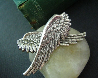 Angel wing-- ox sterling silver plated brass earring post, surgical steel