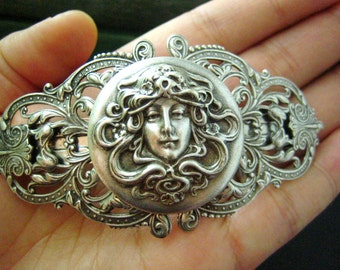 Angel in Armour-Victorian style ornate filigree art nouveau goddess barrette-Made in France Barrette H019