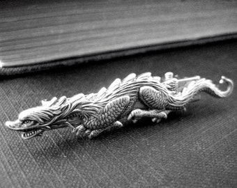 Mythological Fantasy Dragon Alligator hair clips in ox antique sterling silver plated brass V001