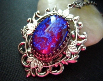 Nebula --- Rare Vintage West Germany x-large Dragon's Breath Opal glass jewel aged brass victorian necklace G001