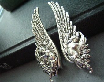 Ear cuff NO PIERCING--vintage style ox sterling silver plated brass mythological angel wing earrings, E476