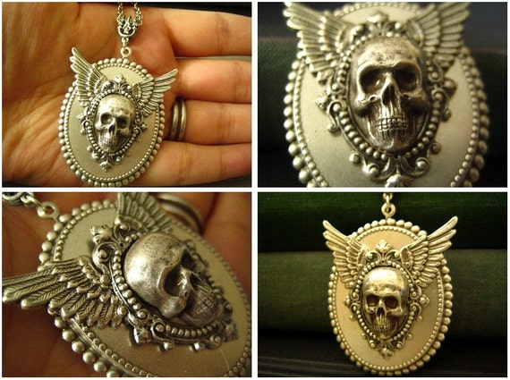 Free Shipping--- Heavy silver plated brass skull cameo macabre necklace, N01