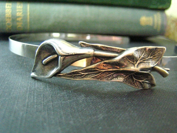 Lily flower vintage style art nouveau headband--OX aged sterling silver plated brass