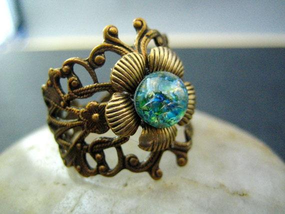 Forest--Vintage iridescent opal glass filigree flower brass ring, R369