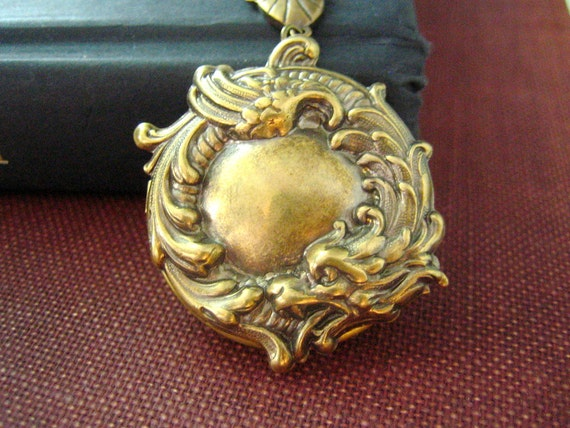 Dragon locket---Vintage brass mythological fantasy locket necklace,
