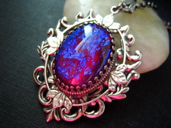 Nebula --- Rare Vintage West Germany x-large Dragon's Breath Opal glass jewel aged brass victorian necklace G001