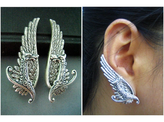 Ear cuff NO PIERCING--vintage style ox sterling silver plated brass mythological dragon wing earrings, E508