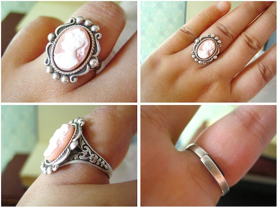 Kolias-- Victorian style vintage cameo antique silver brass adjustable ring-everyday-dainty