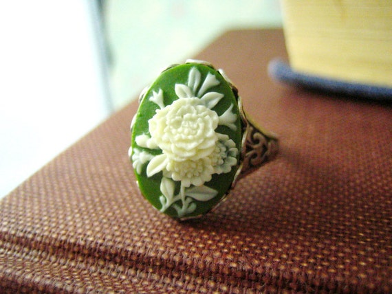 Hecate-- vintage style green and white flower cameo antique silver brass adjustable ring-everyday-dainty