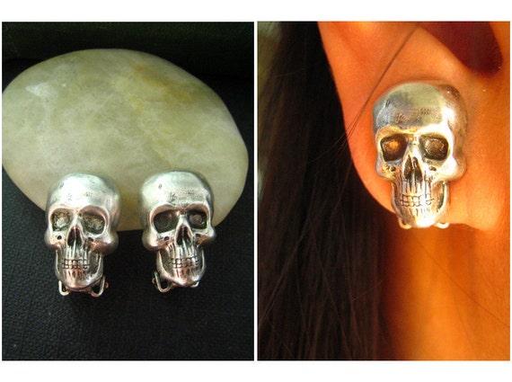 Ear cuff NO PIERCING-- Gothic skull earrings in Ox sterling silver plated brass