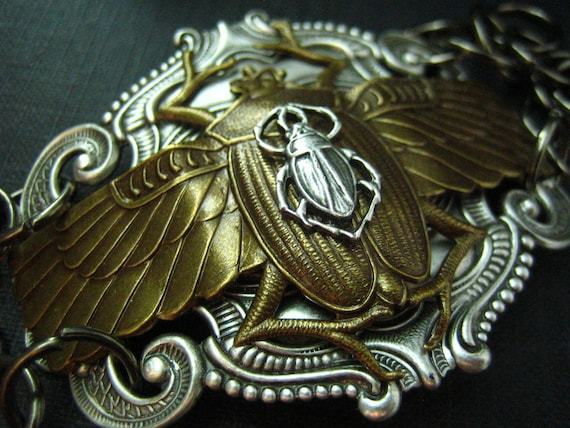 Large vintage oxidized sterling silver plated brass Egyptian beetle bracelet cuff