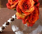 Burnt Orange and Brown Rose Bridal Bouquet & Boutonniere Set- Reserved for Teresa