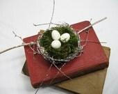 Snow Covered Woodland Birds Nest Cake Topper
