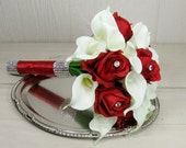 Red Rose and White Calla Lily Wedding Bouquet Package Deposit- Reserved for Jennifer