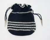 1940s Corde Purse - 1940s Dress Bag in Navy Blue with Silver Metallic & Beads