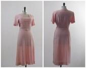 1940s Dress 40s Dress Crepe Lace Wedding Dress Set in Pink L