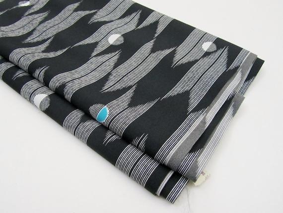 Vintage Kimono Fabric / Kimono Geometric Fabric / Yardage in Black, White, & Turquoise
