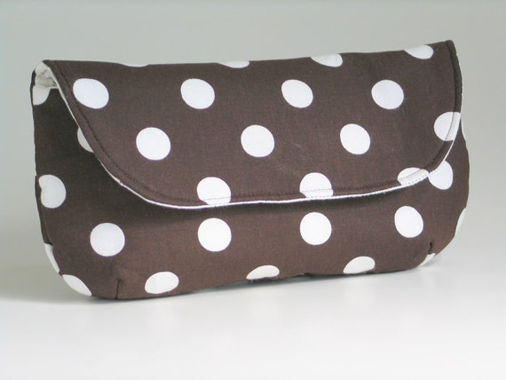 Brown and White Polka Dots Clutch- Make up Bag- Bridesmaid Clutch- Cosmetics Case